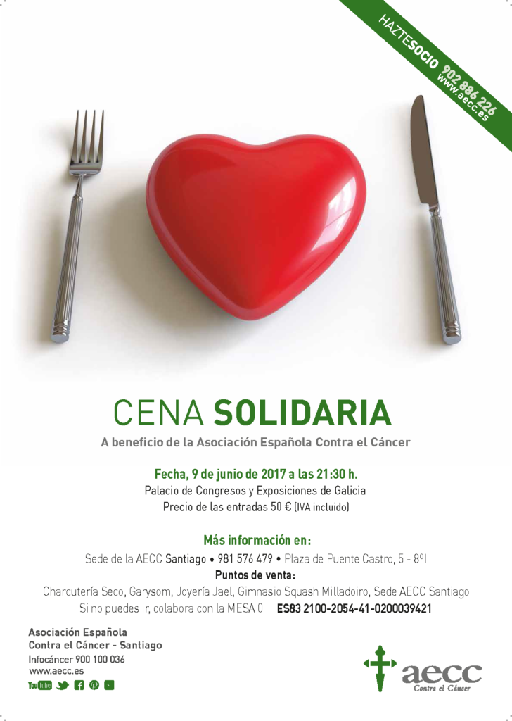 cartel cena solidaria aecc cáncer santiago