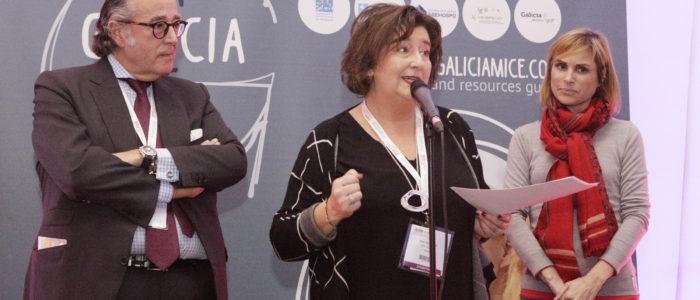Ana Trevisani, directora de OPC Galicia durante el acto de presentación de Galicia MICE en la IBTM World de Barcelona