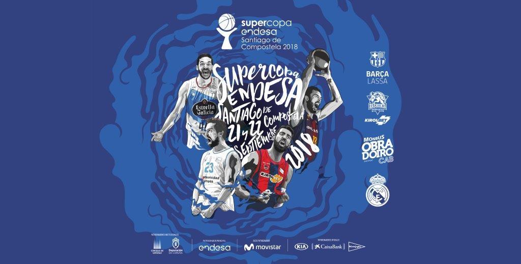 cartel de la supercopa endesa acb, evento en Santiago de Compostela