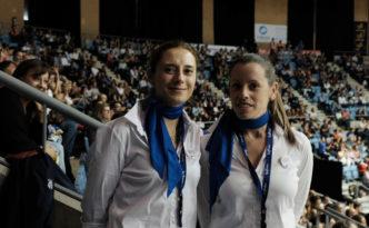 Azafatas de Trevisani en un partido del Monbus Obradoiro en Sar. Fotógrafo Xaime Cortizo