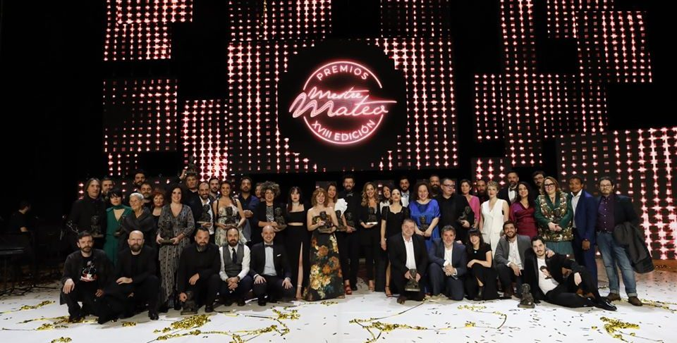 Foto de familia de los Premios Mestre Mateo 2020